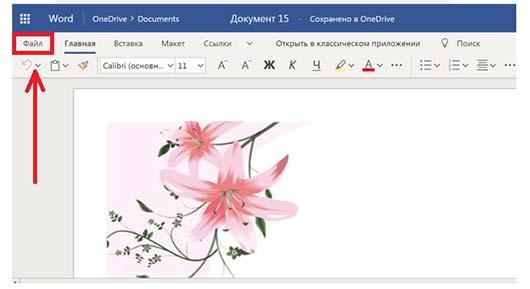 пункт «Файл»