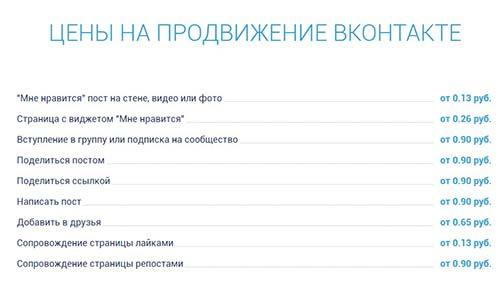 Цены на продвижение вконтакте