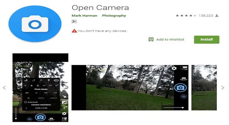 Скачайте Open Camera
